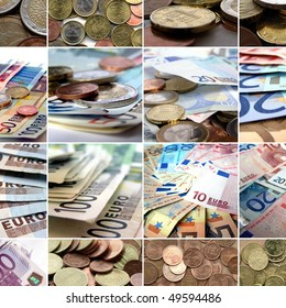 Euro money collage with notes and coins