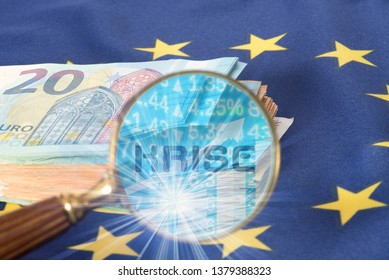 Euro Money, the flag of the European Union and the German translation for the crisis