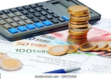 euro money and german bill
