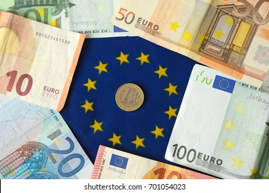 Euro money on the euro flag