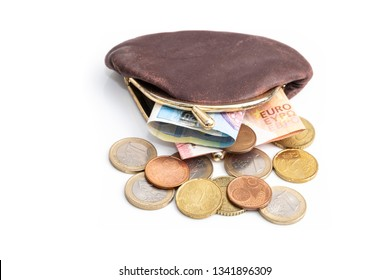 Euro money in purse, picture includes banknotes and coins