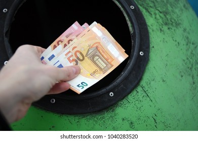 euro money and rubbish bin