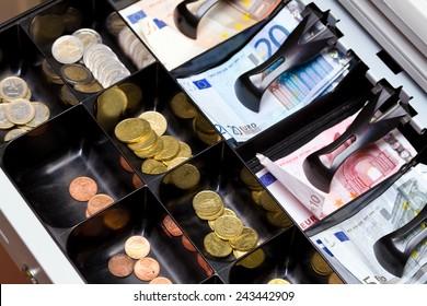 Euro money in the till