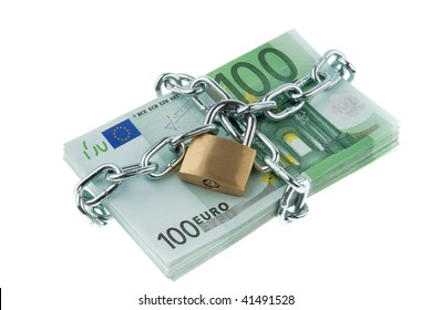Euro notes with lock and chain.