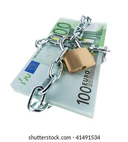 Euro notes with lock and chain. .