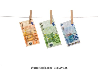 Euro notes on clothesline
