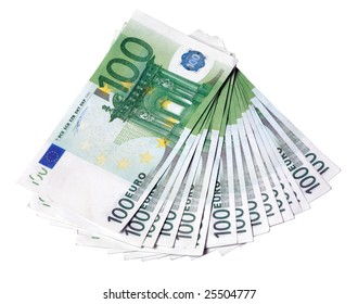Euro one hundred bill background on isolated white