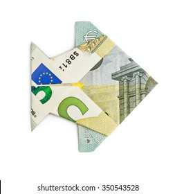 Euro origami fish isolated on white background. Moneygami. Catch.