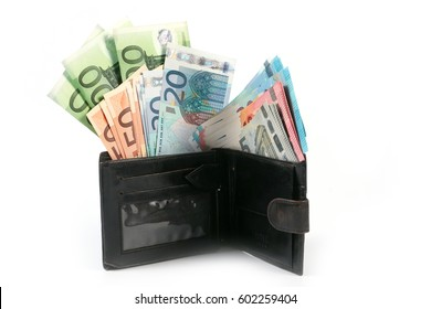 Euro paper bills in a leather purse as an element of conservation and trade system