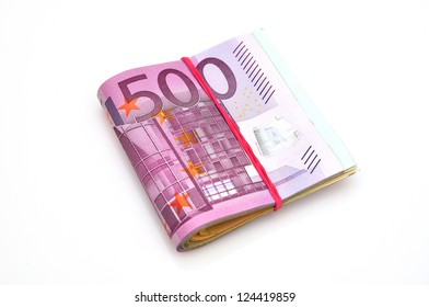 Euro paper money, isolated on white background.