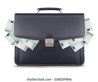 Euro piles inside briefcase. Creative 3d illustration
