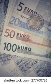 euro and polish zloty banknotes. international currency