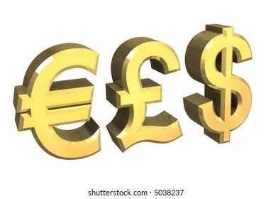 euro, pound, dollar symbol in gold (3D)