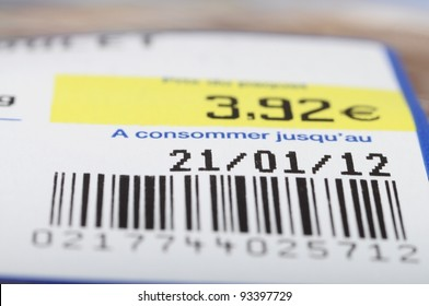 Euro price, bar code, expiration date on a food label product