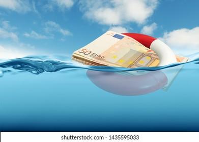 Euro rescue concept - bank note modified