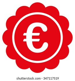 Euro Reward Stamp glyph icon. Style is flat symbol, red color, rounded angles, white background.