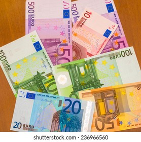 Euro scattered on the table