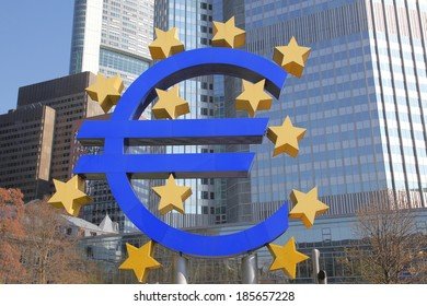 Euro sign and banking Area in Frankfurt, Germany