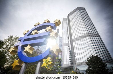 Euro sign and European Central Bank in Frankfurt