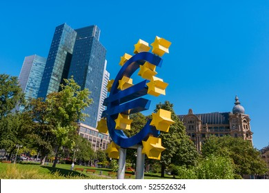 EURO sign at the financial district in Frankfurt, germany