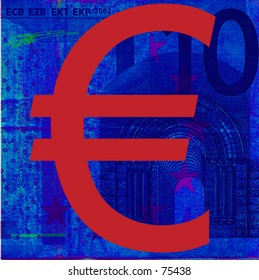 Euro sign on 10-euro note background.