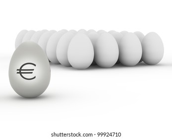 euro sign on eggs, front view