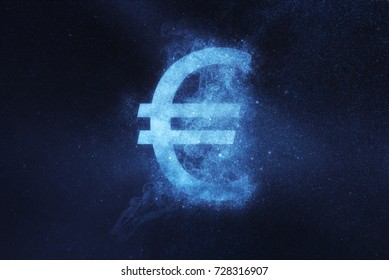 Euro sign, Euro Symbol. Abstract night sky background