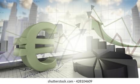Euro sign,economical stock market concept-3d render