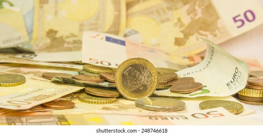 euro standing  money background