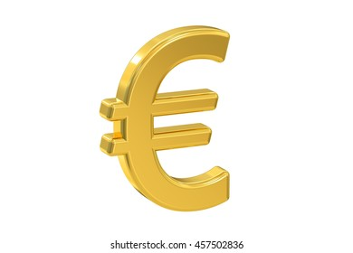 euro symbol, 3D rendering isolated on white background