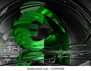 euro symbol in abstract space - 3d illustration