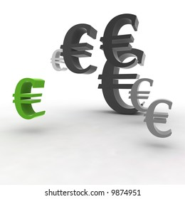 euro symbol in the air - 3d illustration isolated on white background