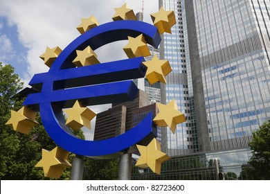 A Euro symbol is displayed in Frankfurt, Germany, headquarters of the European Central Bank.