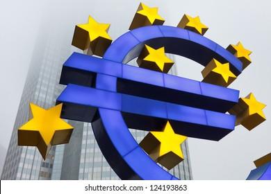 Euro Symbol at the European Central Bank (ECB) in Frankfurt, Germany.