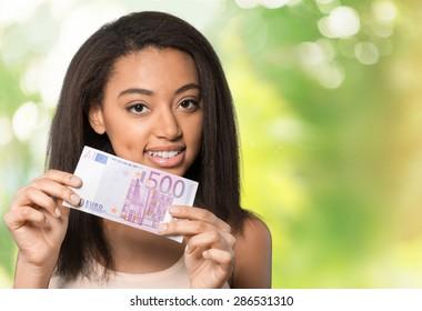 Euro Symbol, European Union Currency, Women.