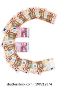 Euro symbol made of euro banknotes isolated on white background with clipping path