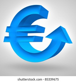 Euro symbol merged with up arrow. 3D render. Concept for strong and rising European currency or business and financial concept.