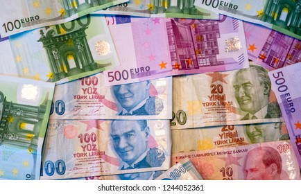 Euro And Turkish Lira Banknotes Stacked Up. For Forex an Financial reason, Turkey Crisis strong Dollar