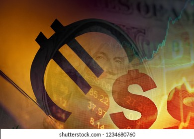 Euro and US dollar symbol. Money concept. Selective focus.