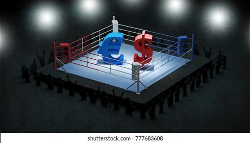 Euro versus dollar boxing