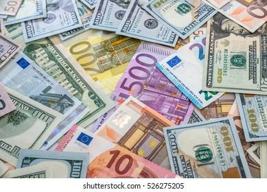 euro vs dollar as background