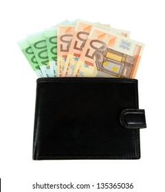 Euro in wallet isolated on white