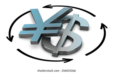 Euro and Yen symbols with four circular arrows over white background , Illustration of exchange between two currencies.