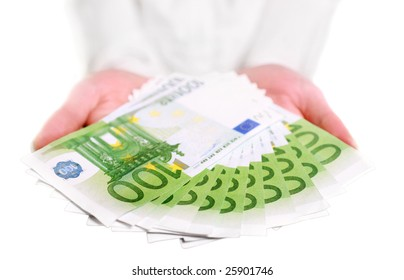 Eurobill money in hands isolated on white
