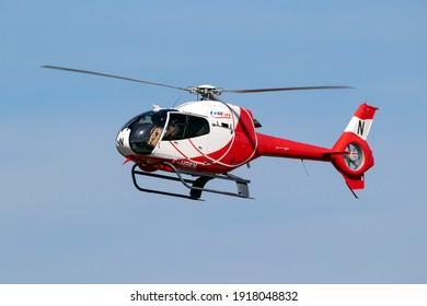 Eurocopter EC120 Colibri helicopter from HeliDax in flight over Kleine-Brogel airbase. Belgium - September 14, 2019