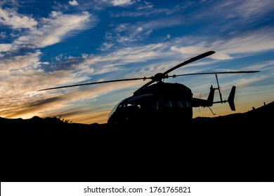 Eurocopter UH-72A helicopter sunset silhouette