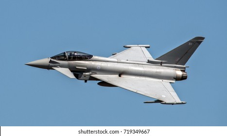 Eurofighter Typhoon flying fast with agile movements.