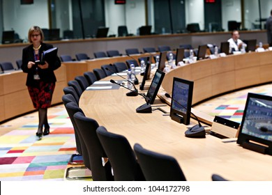 Eurogroup finance ministers meeting at the European Council in Brussels, Belgium on Mar. 12, 2018.