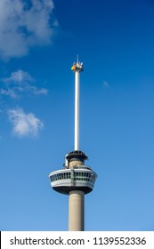 Euromast in Rotterdam, South Holland, Netherlands. Euromast is an observation tower, designed by Hugh Maaskant constructed between 1958 and 1960. It was specially built for the 1960 Floriade.
