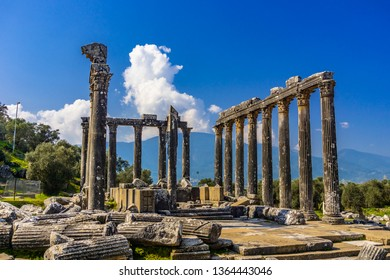 Euromos (Euromus) Ancient City.  Soke - Milas road, Mugla, Turkey. Temple of Zeus Lepsynos was built in the 2nd century